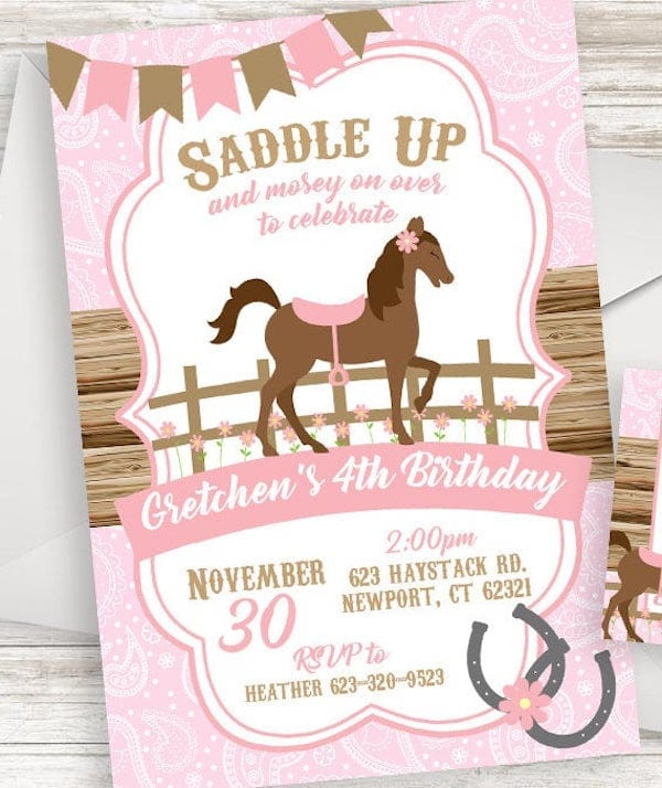 Horse Birthday Cowgirl Invite