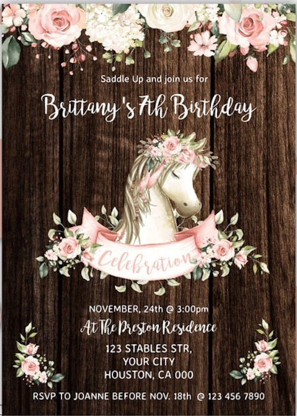Saddle Up Horse and Roses Invitation