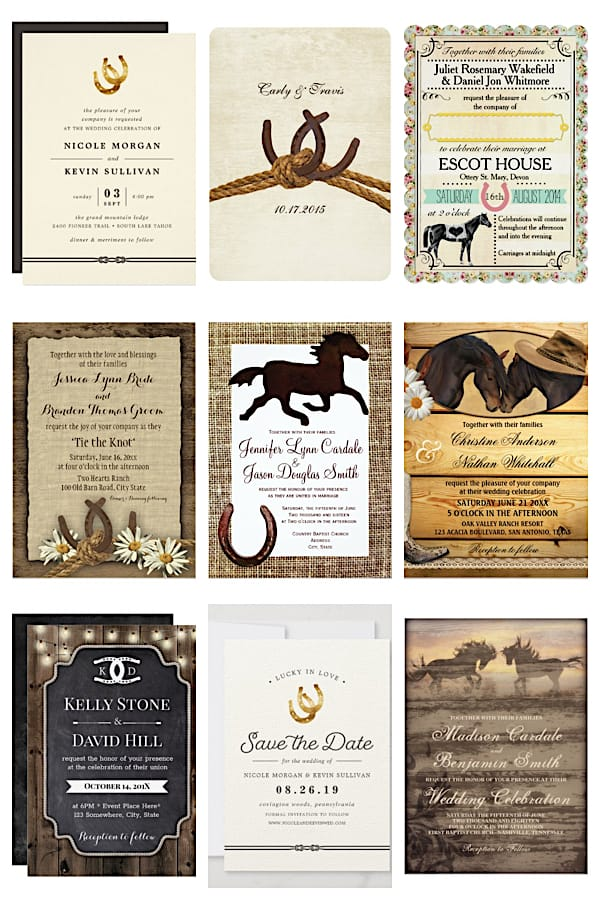 Horse Themed Wedding Invitations