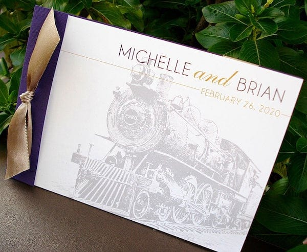Locomotive Train Booklet Wedding Invitation
