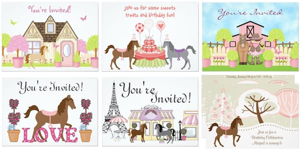 Pretty Ponies Party Invitations