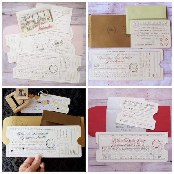 Punch Card Vintage Train Ticket Wedding Invitations
