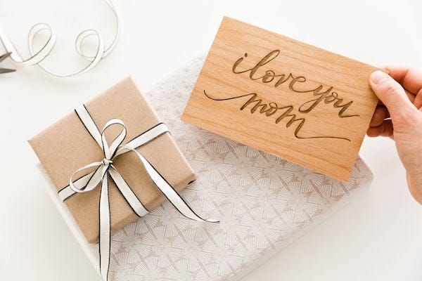 Real Wood I Love You Mom Greeting Card
