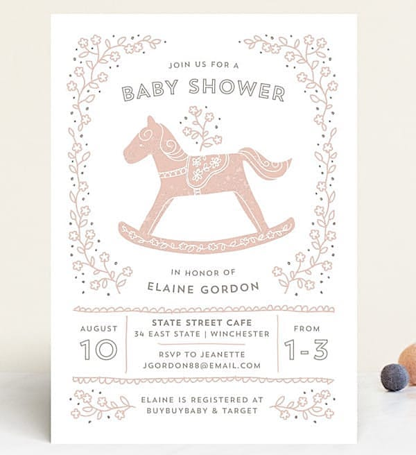 Rockabye Horse Baby Shower Invitation