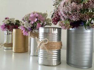 Rustic Tin Can Wedding Vases