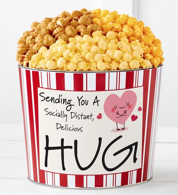 Socially Distant Hug Heart Popcorn Tin