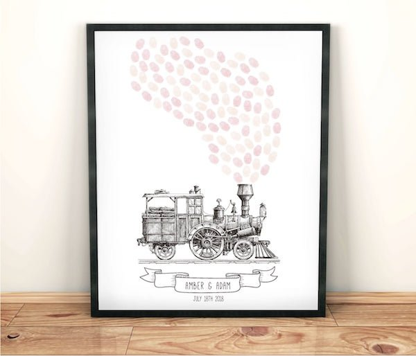 Steam Engine Train Theme Wedding Fingerprint Guest Book