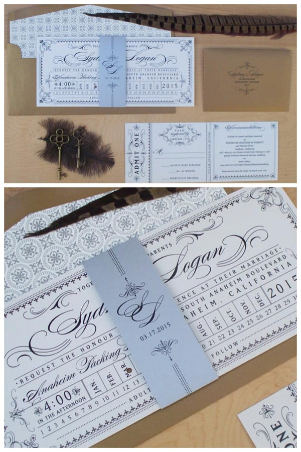 Steampunk Punch Card Train Ticket Wedding Invitation