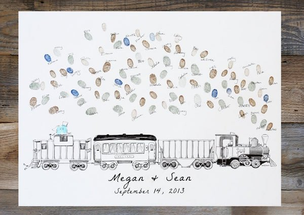 Thumbprint Steam Engine Train Theme Wedding Memory