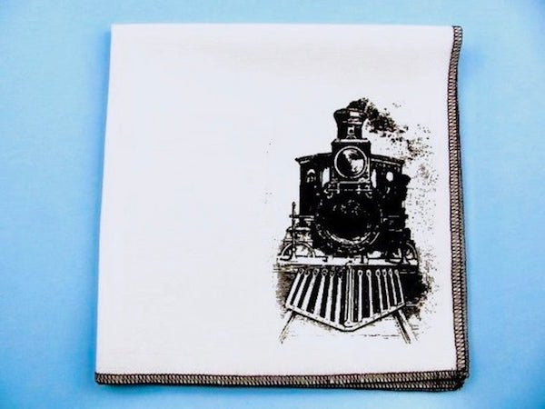 Train Handkerchief for Steam Engine Train Theme Wedding