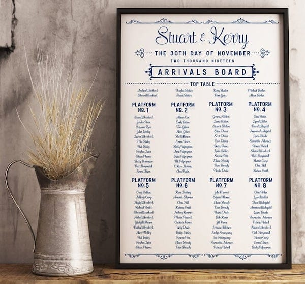 Train Theme Platform Number Wedding Seating Chart
