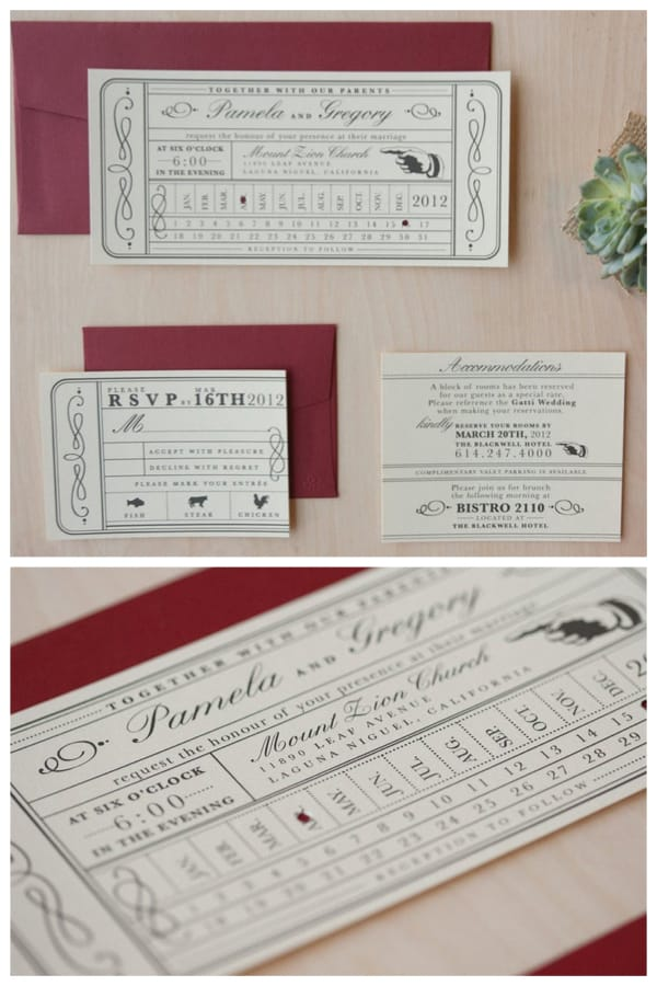 Vintage Punch Card Ticket Wedding Invitation