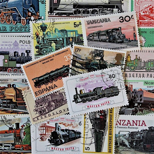 Vintage Steam Train Postage Stamps