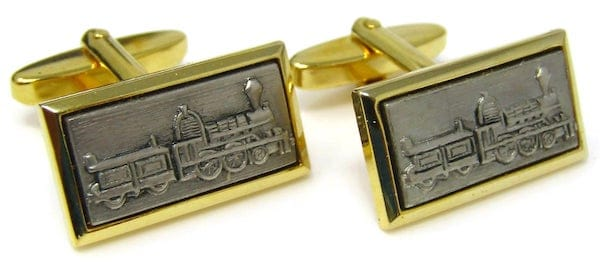 Vintage Train Cufflinks for Steam Engine Train Theme Wedding