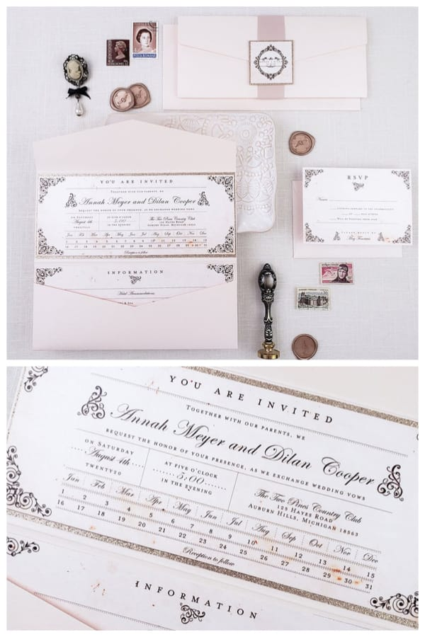 Vintage Train Ticket Elegant Wedding Invitation