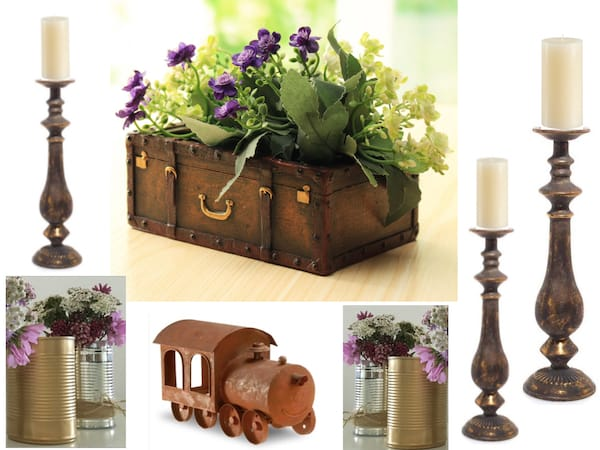Vintage Train Travel Table Decor