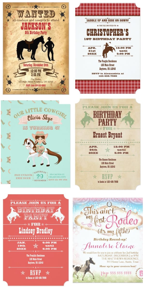 Western Horse Themed Invitations
