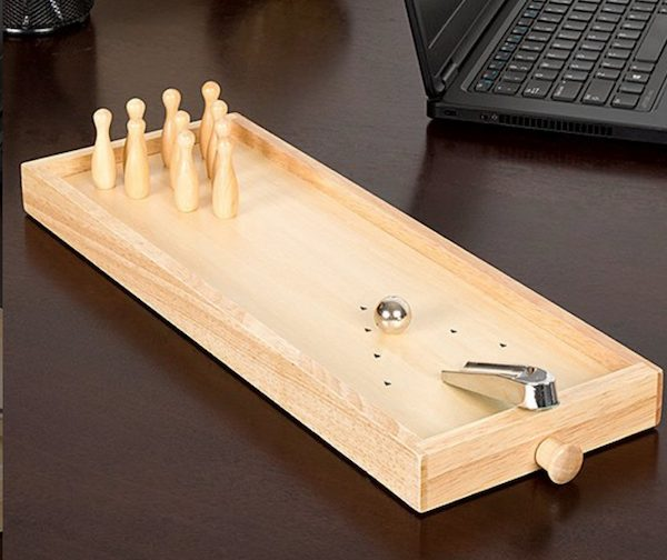 Wooden Tabletop Bowling Game
