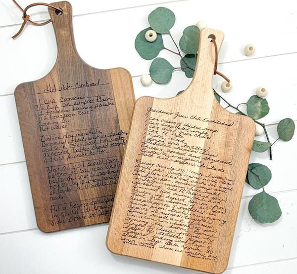 Custom Cutting Board with Laser Engraved Handwritten Family Recipe