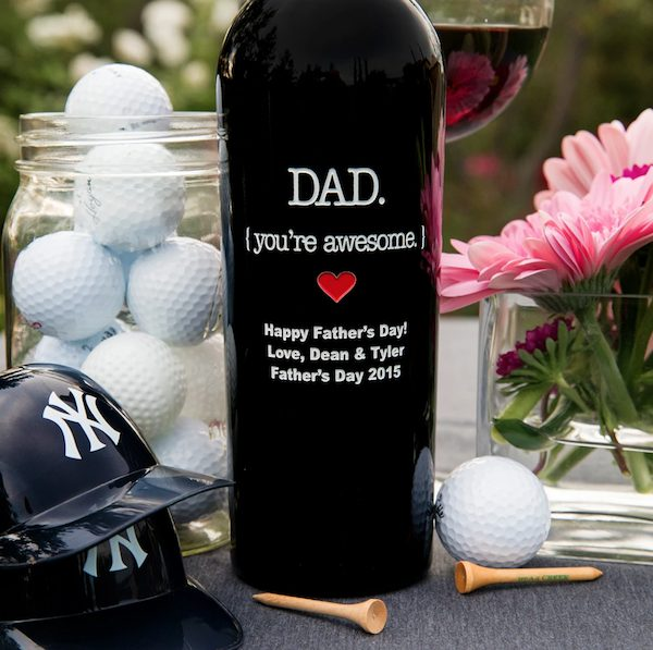 Dad You're Awesome Etched Wine Father's Day Gift