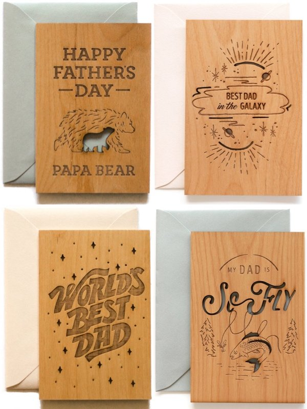 Father's Day Unique Wooden Cards
