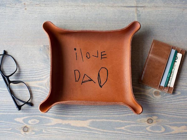 Kids Handwriting Leather Catchall Gift For Dad