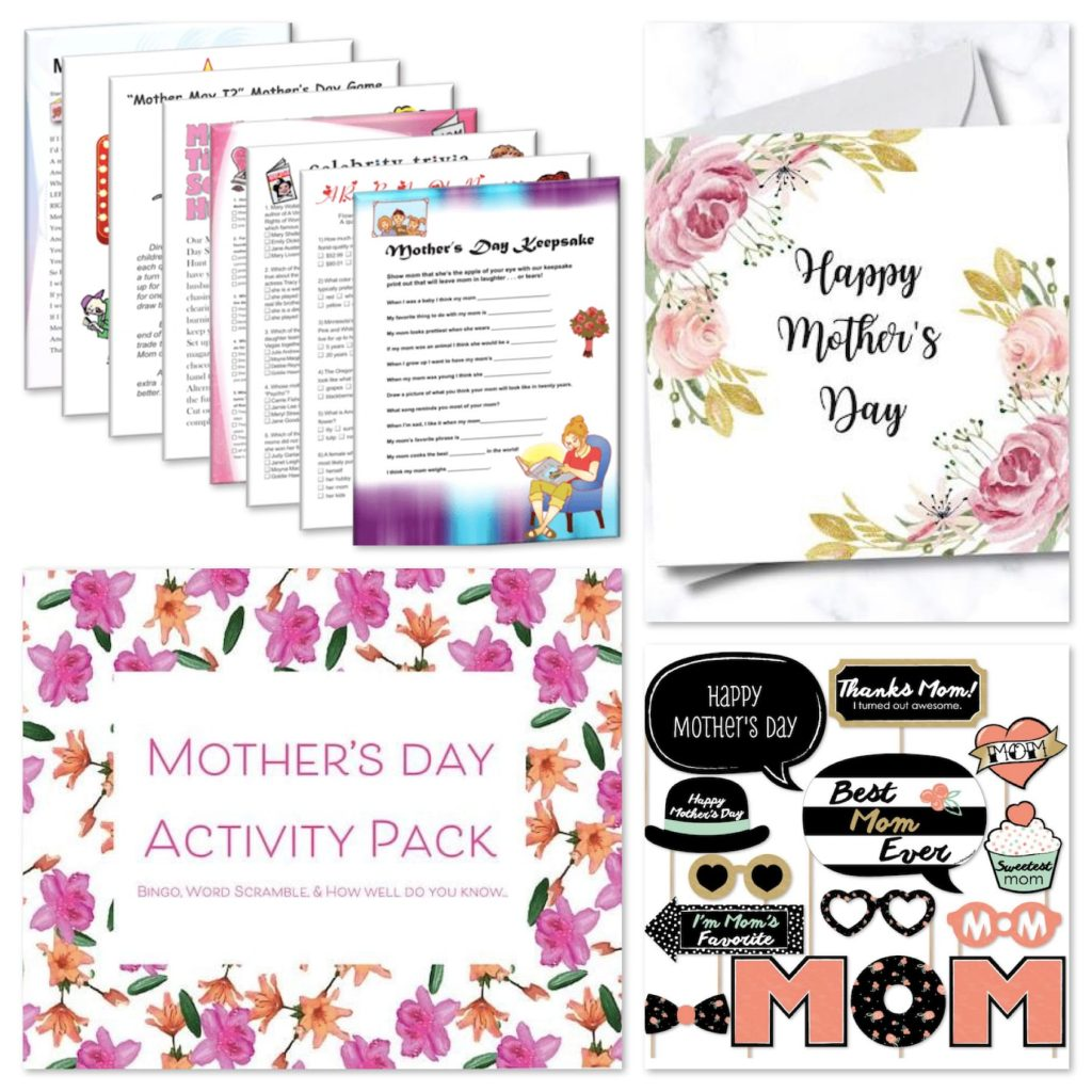 Last Minute Mothers Day Printable Cards, Gifts and Games