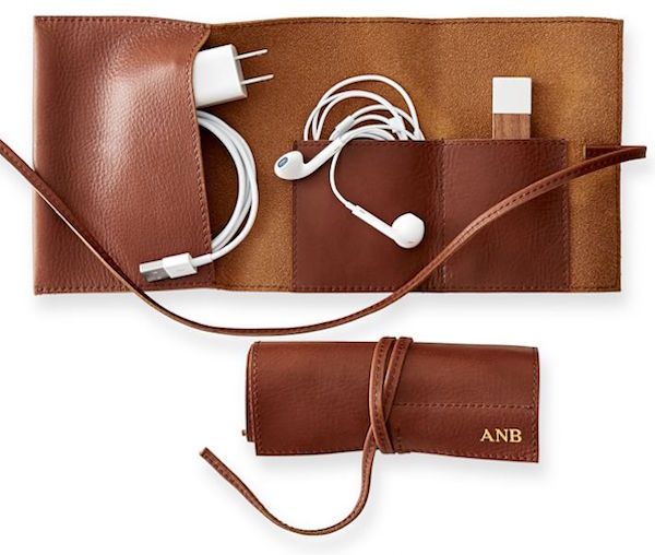 Leather Travel Charger Roll-Up Gift for Dad