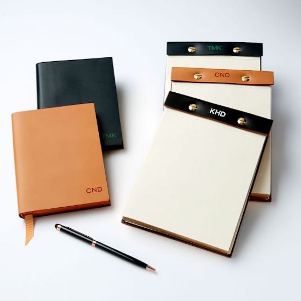 Monogrammed Leather Desk Notepad Home Office Gift for Dad
