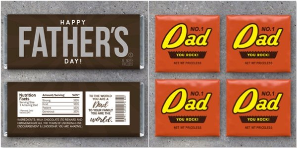 Printable Candy Wrappers Father's Day Gift