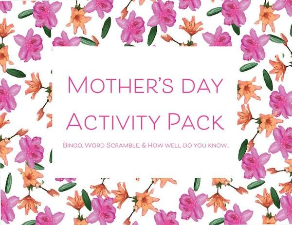 Printable Mothers Day Activity Pack Digital Download