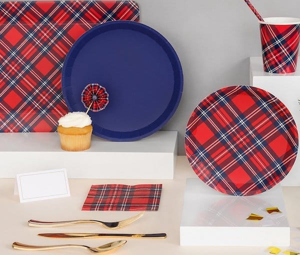 Red White and Blue Plaid Tableware