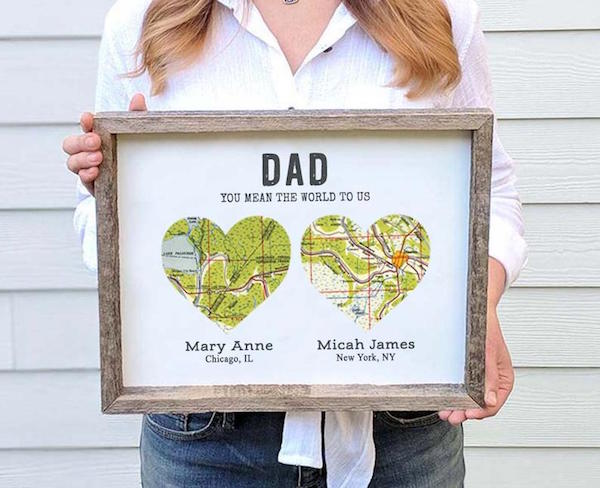 Wood Heart Long Distance Father's Day Gift