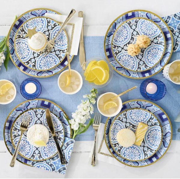 Amalfi Blues Paper Goods Picnic Set
