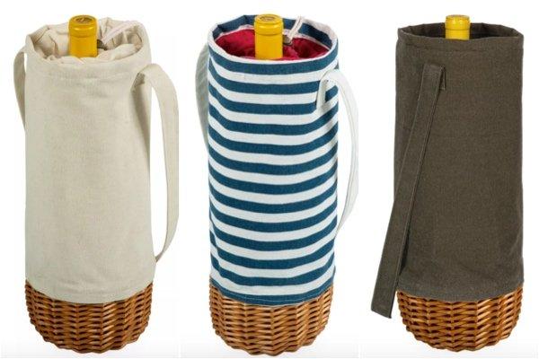Malbec Stripe Insulated Canvas & Willow Wine Bottle Basket