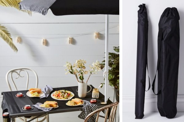 Outdoor Fold-Up Table and Umbrella