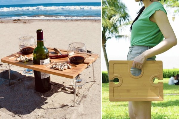 Outdoor Wine Picnic Table, Folding Portable Bamboo Wine Glasses & Bottle, Snack and Cheese Holder Tray for Concerts at Park, beach