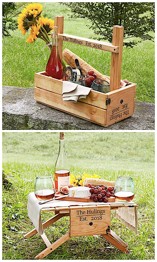 Personalized Picnic Table Wine and Food Carrier