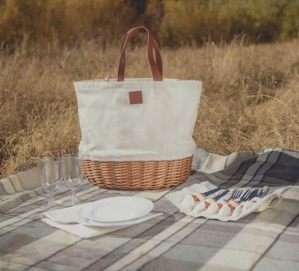 Promenade 13-Piece Flatware & Picnic Basket Set