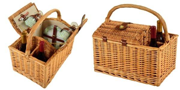 Vineyard Wicker Picnic Basket for Two