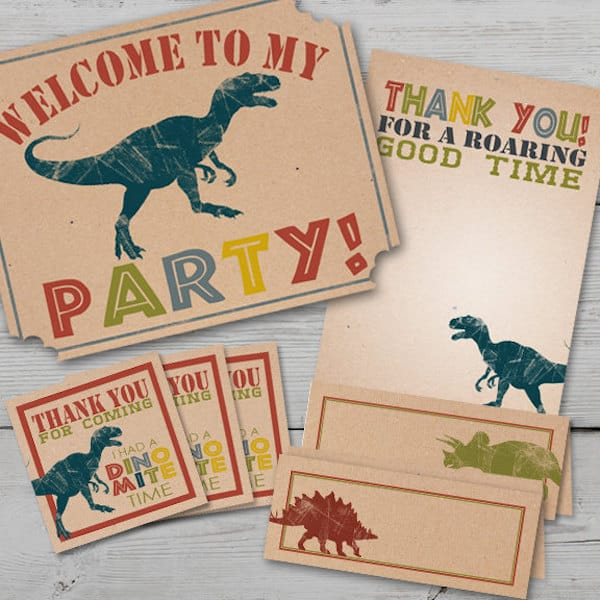 Dinosaur Dig Printable Birthday Decor Kit