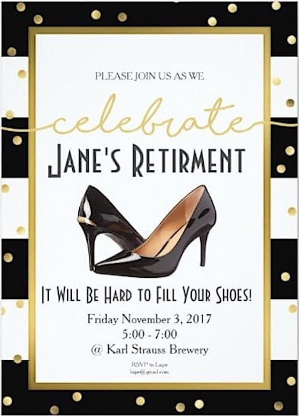 It Will be Hard to Fill Your Shoes Womens Retirement Invitation