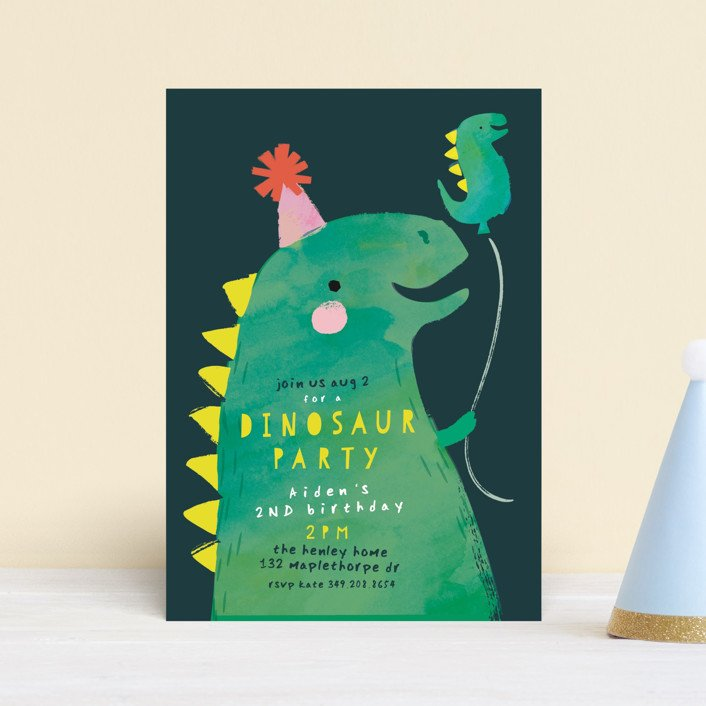 Dinosaur Balloon Invite