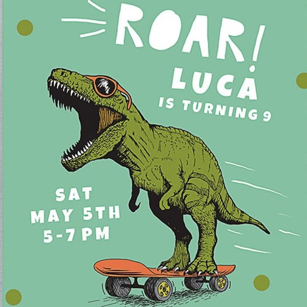 Roar Dinosaur Party Invite