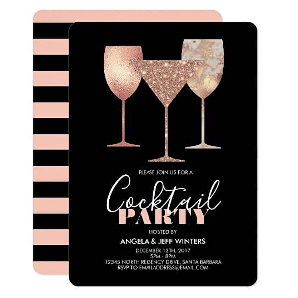 Rose Glitter Cocktail Party Invitation