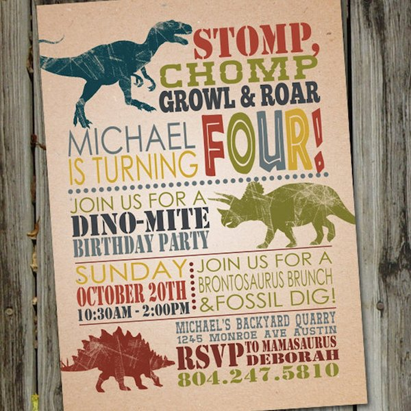 Stomp Chomp Growl Printable Dinosaur Invite