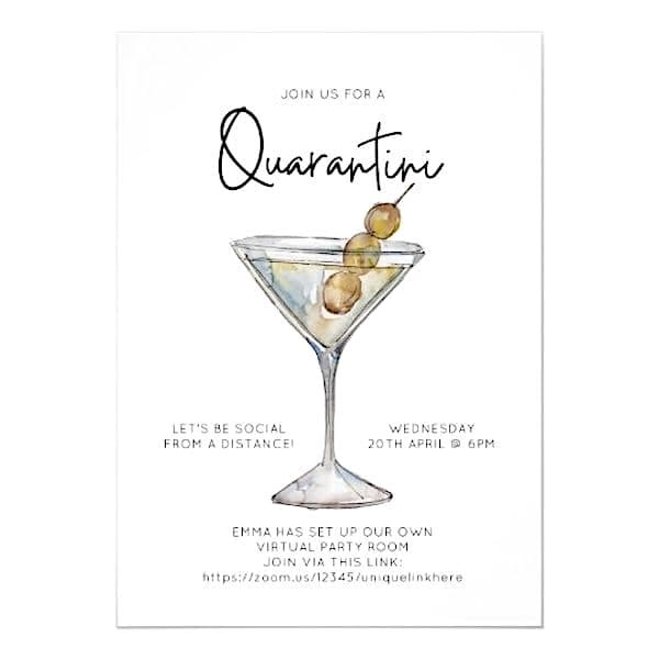 Quarantine Lets Cocktail Ladies Night Party Invitations