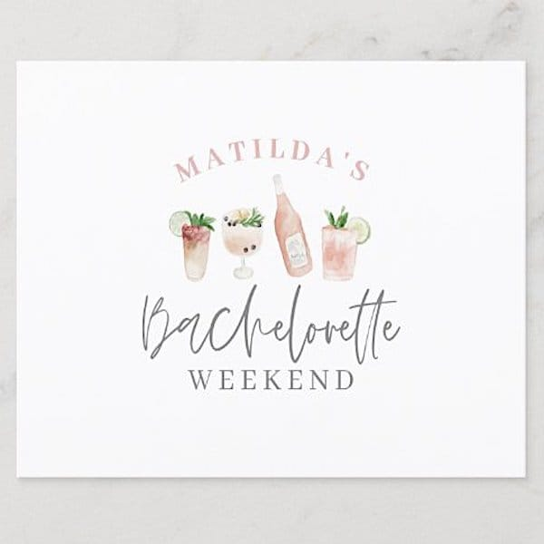 Cocktails Bachelorette Weekend Invitations