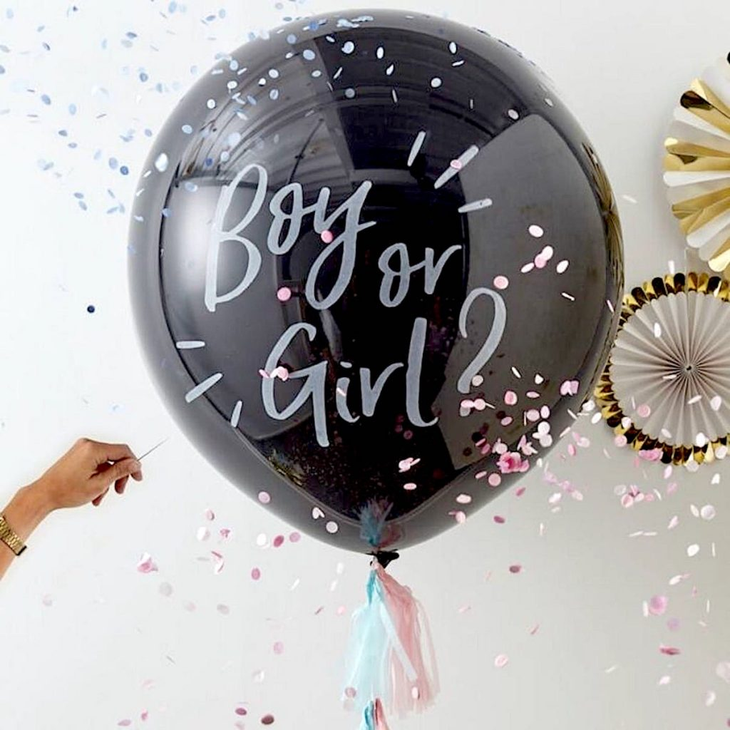 Gender Reveal Balloon with Confetti and Tassels
