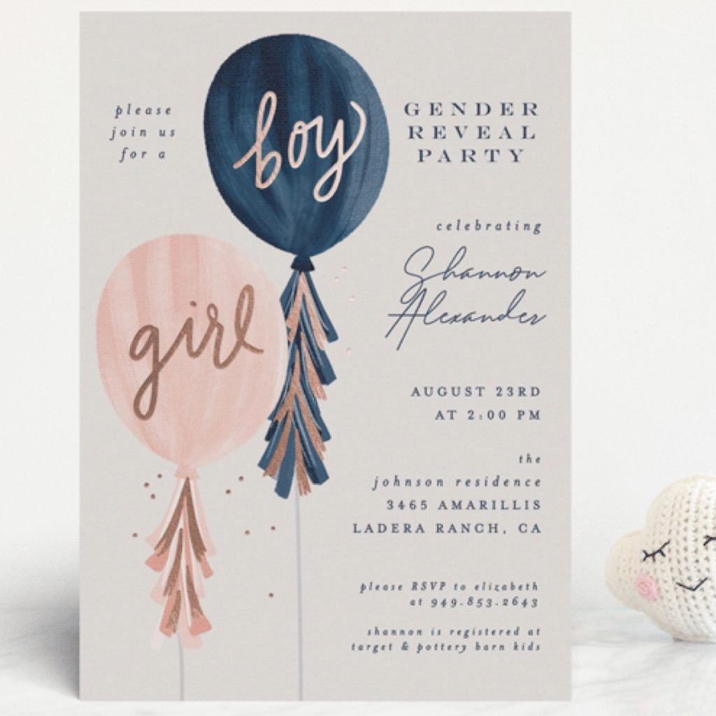 Girl or Boy Gender Reveal Baby Shower invitations